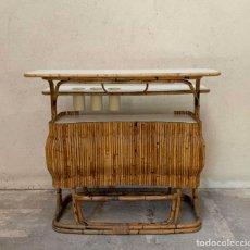 Antigüedades: BAR VINTAGE EN ROTIN ET FORMICA VERS 1950-1960. Lote 278953283