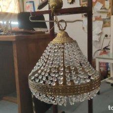 Antigüedades: LAMPARA METAL DORADO Y CRISTALES. Lote 278954518