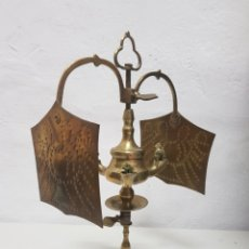 Antigüedades: LAMPARA DE ACEITE DE BRONCE. Lote 279328288