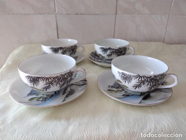 Antigüedades: Antiguo juego de té de porcelana cascara de huevo, con imagen de mujer en el fondo, sellado - Foto 2 - 279375073