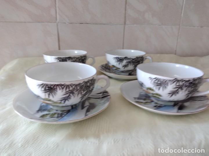 Antigüedades: Antiguo juego de té de porcelana cascara de huevo, con imagen de mujer en el fondo, sellado - Foto 3 - 279375073