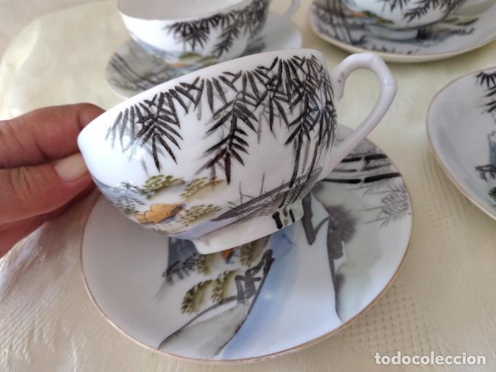 Antigüedades: Antiguo juego de té de porcelana cascara de huevo, con imagen de mujer en el fondo, sellado - Foto 4 - 279375073