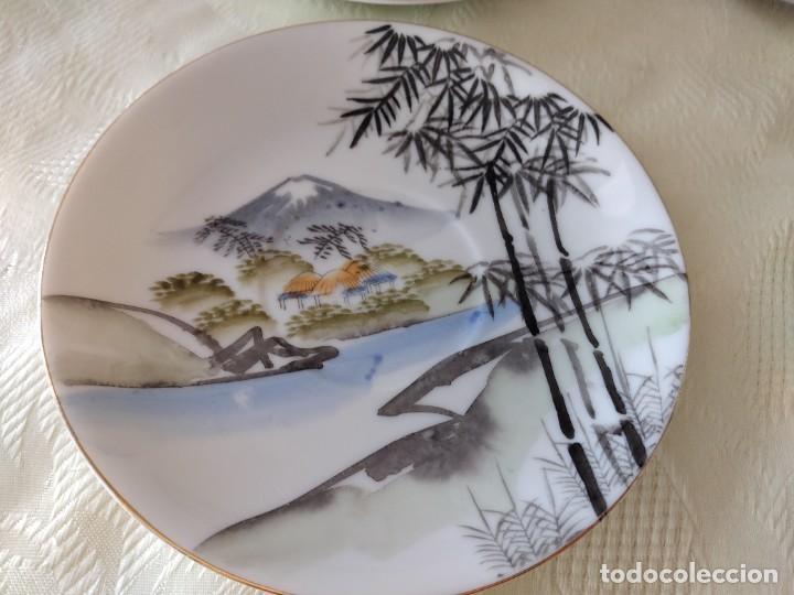 Antigüedades: Antiguo juego de té de porcelana cascara de huevo, con imagen de mujer en el fondo, sellado - Foto 7 - 279375073
