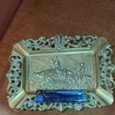 Antigüedades: ANTIGUO CENICERO DE BRONCE DE DON QUIJOTE Y SANCHO PANZA. Lote 279378498
