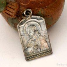 Antigüedades: MEDALLA PLATA SAGRADO CORAZÓN JESÚS, REVERSO MARÍA REZANDO (#149). Lote 279424578