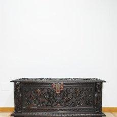 Antigüedades: ARCÓN ANTIGUO O BAÚL TALLADO ESTILO RENACIMIENTO ESPAÑOL. Lote 279443618