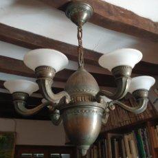 Antigüedades: LAMPARA DE TECHO ART DECÓ - 6 LUCES - TULIPAS DE CRISTAL - AÑOS 20. Lote 279495568
