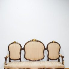 Antigüedades: SOFÁ ANTIGUO ISABELINO MADERA DE NOGAL. Lote 279509823