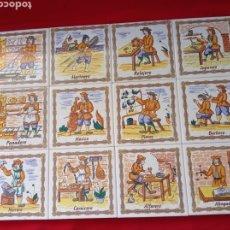Antigüedades: CONJUNTO DE 12 BALDOSAS O AZULEJOS DE ANTIGUOS OFICIOS.. Lote 279551063