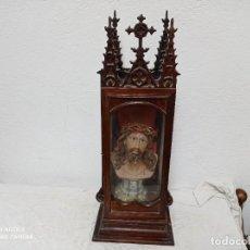 Antigüedades: MAGNIFICA CAPILLA/URNA DE MADERA CON BUSTO DE CRISTO!. Lote 280114948