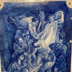 Antigüedades: PLACA CERÁMICA REPRESENTANDO EL DESCENDIMIENTO DE RUBENS POR J CASTILLA, MADRID 1893. Lote 280126243