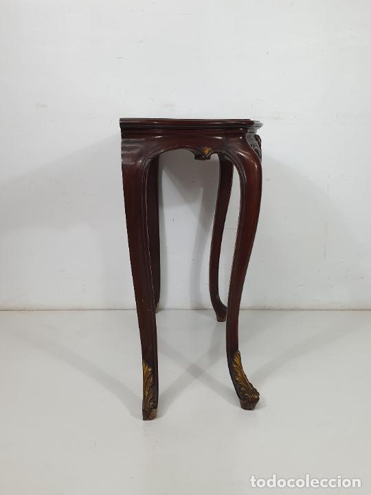 Antigüedades: Decorativa Consola - Talla de Madera Dorada - Ancho 83 cm, fondo - 38 cm - Foto 4 - 280209468