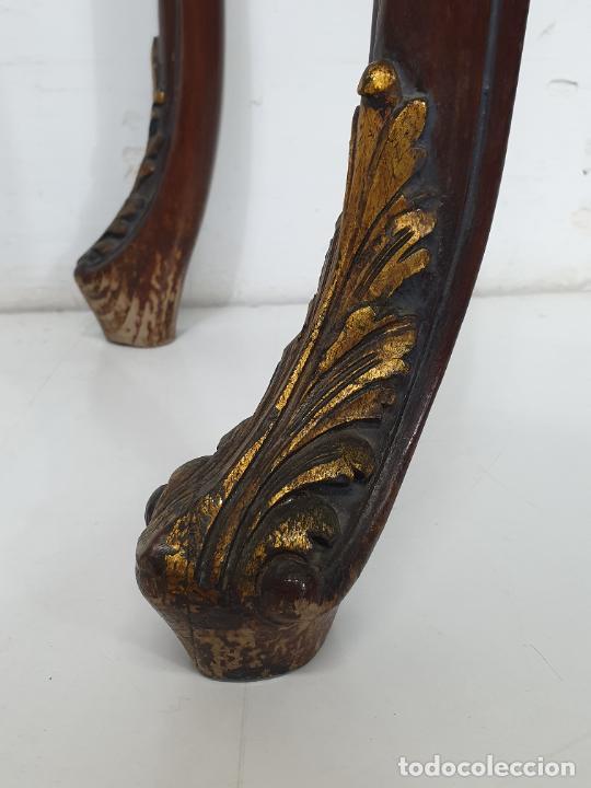 Antigüedades: Decorativa Consola - Talla de Madera Dorada - Ancho 83 cm, fondo - 38 cm - Foto 8 - 280209468