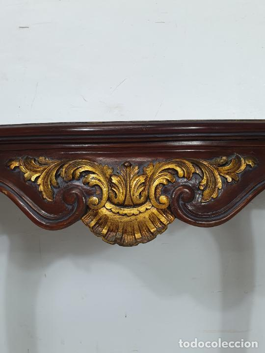 Antigüedades: Decorativa Consola - Talla de Madera Dorada - Ancho 83 cm, fondo - 38 cm - Foto 10 - 280209468