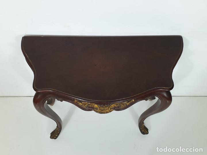 Antigüedades: Decorativa Consola - Talla de Madera Dorada - Ancho 83 cm, fondo - 38 cm - Foto 11 - 280209468