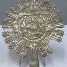 Antigüedades: RESPLANDO PARA VIRGEN. METAL PLATEADO. SIGLO XVIII. Lote 280461528