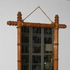 Antigüedades: ESPEJO DE MADERA IMITANDO BAMBÚ - PRINCIPIOS SIGLO XX - 52 X 44. Lote 280741698