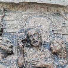 Antigüedades: CUADRO DE LA ÚLTIMA CENA EN COBRE CON RELIEVE, REPUJADO,RESTOS BAÑO DE PLATA, MUY ANTIGUO, SIGLO XIX. Lote 280761178