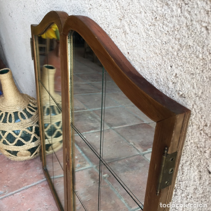 Antigüedades: Puertas de ventana o mueble modernista con cristalera de espejo biselado, vidriera - Muy original - Foto 4 - 280780853