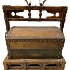 Antigüedades: ANTIGUA ARQUETA, BAÚL DE TRANSPORTAR COMIDA DE MADERA DE ROBLE. NOBLEZA, CLASE ALTA CHINA. S.XIX. Lote 280248678