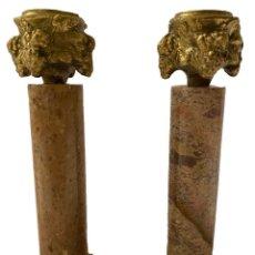 Antigüedades: CANDELABROS DE BRONCE Y MÁRMOL VETEADO,ESTILO IMPERIO, PRECIOSOS,. Lote 280812773