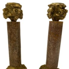 Antigüedades: CANDELABROS CON PIE Y CAPITEL DE BRONCE Y EL FUSTE EN MARMOL VETEADO, PRECIOSOS!!, 15 X 6 X 6.. Lote 280812818