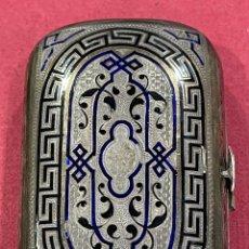 Antigüedades: ANTIGUA CAJITA, EN PLATA DE LEY, CON ESMALTE GUILLOCHE. NAPOLEON III.. Lote 280830963
