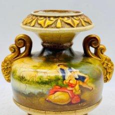 Antigüedades: GRAN JARRÓN DE CERÁMICA, PINTADO A MANO , MEDIDAS 30 X 20 CM. Lote 280838053