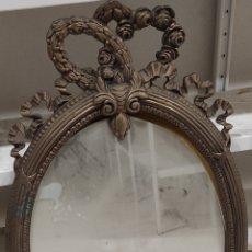 Antigüedades: MARCO DE BRONCE LABRADO DE 96X50CM CON ESPEJO. Lote 280872213