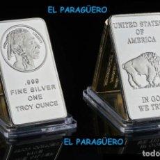 Antigüedades: ESTADOS UNIDOS LINGOTE PLATA ( CABEZA DE GRAN JEFE INDIO Y BUFALO ) LEE DENTRO LA DESCRIPCION - Nº4. Lote 279469868