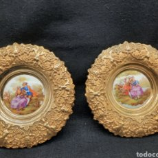 Antiquités: BONITOS PLATOS DE BRONCE Y PORCELANA. Lote 280894528