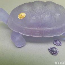 Antigüedades: JOYERO VIDRIO TORTUGA BOHO CHECO ART DÉCO INGRID COLECCIÓN GLASS TURTLE JEWELRY. Lote 280953443