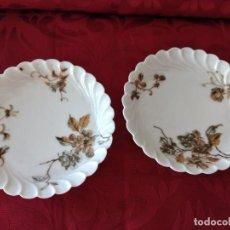 Antigüedades: LOTE DE 2 PLATILLOS DE PORCELANA H & G LIMOGES FRANCE G.GLORIA TORINO. Lote 281018543