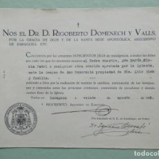 Antigüedades: DOCUMENTO 200 DÍAS INDULGENCIA POR REZAR A LA IMAGEN DE SAN PANCRACIO - AÑO 1943 ZARAGOZA. Lote 281050608