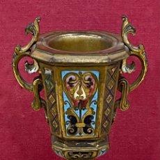 Antigüedades: BONITA COPA ANTIGUA, EN BRONCE Y CLOISONNE. FIN. S.XIX. NAPOLEON III. Lote 281992763