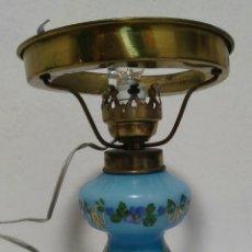 Antigüedades: ANTIGUA LAMPARA DE MESA DE OPALINA AZUL PRINCIPIOS DE SIGLO XX. Lote 282259578