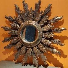 Antigüedades: ANTIGUO ESPEJO SOL EN PAN DE ORO DOBLE RAYO. Lote 282890648
