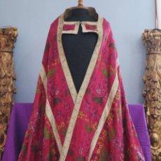 Antigüedades: CAPA PLUVIAL CONFECCIONA EN SEDA BROCADA. SIGLO XVIII.. Lote 282985178