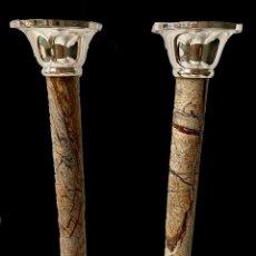 Antigüedades: ANTIGUA PAREJA DE CANDELABROS NAPOLEÓN III, IMPERIO. S. XIX. CASINO MERCANTIL DE ZARAGOZA.. Lote 283050333