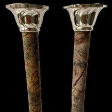 Antigüedades: ANTIGUA PAREJA DE CANDELABROS NAPOLEÓN III, IMPERIO. S. XIX. CASINO MERCANTIL DE ZARAGOZA. LEER. Lote 283050348