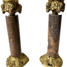 Antigüedades: ANTIGUA PAREJA DE CANDELABROS DE BRONCE Y MÁRMOL. NAPOLEÓN III, IMPERIO.CASINO MERCANTIL DE ZARAGOZA. Lote 283054538