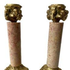 Antigüedades: ANTIGUA PAREJA DE CANDELABROS DE BRONCE Y MÁRMOL. NAPOLEÓN III, IMPERIO.CASINO MERCANTIL.XIX. Lote 283054553