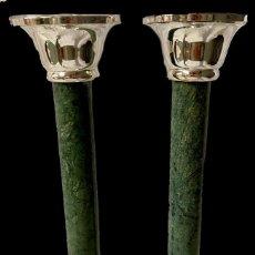 Antigüedades: ANTIGUA PAREJA DE CANDELABROS ORIGINALES NAPOLEÓN III, IMPERIO. CASINO MERCANTIL ZARAGOZA. MÁRMOL.. Lote 283057003