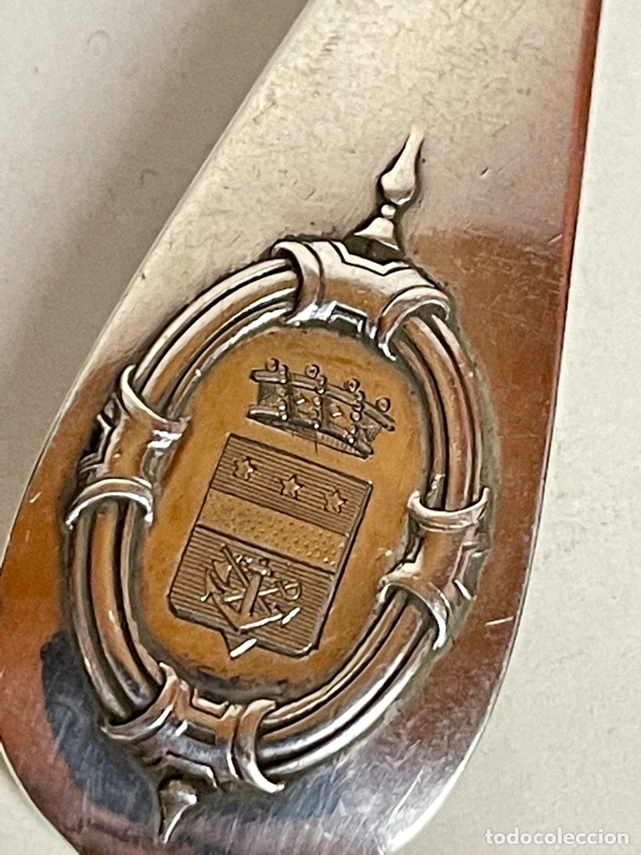 Antigüedades: Pareja de cubiertos en plata de un Barón Corsario, o corsario ennoblecido, Francia, siglo XIX. - Foto 3 - 283129873