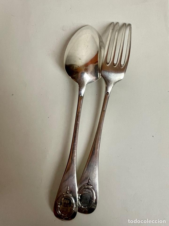 Antigüedades: Pareja de cubiertos en plata de un Barón Corsario, o corsario ennoblecido, Francia, siglo XIX. - Foto 7 - 283129873