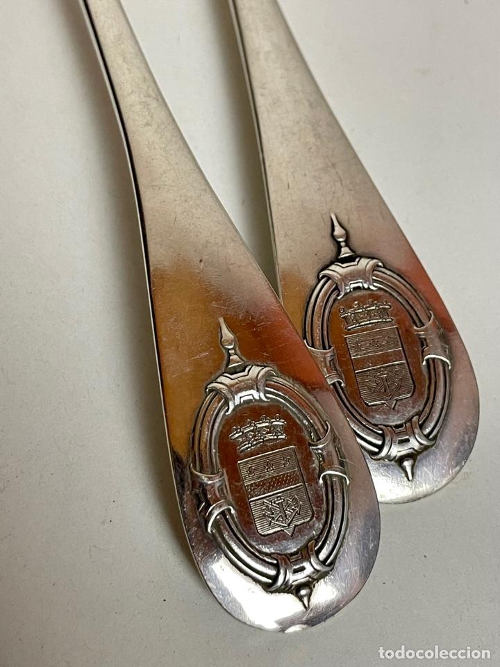 Antigüedades: Pareja de cubiertos en plata de un Barón Corsario, o corsario ennoblecido, Francia, siglo XIX. - Foto 8 - 283129873