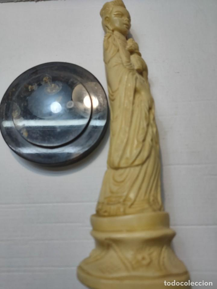 Antigüedades: Figura China en pasta-Resina con peana en Ambar - Foto 3 - 283254923