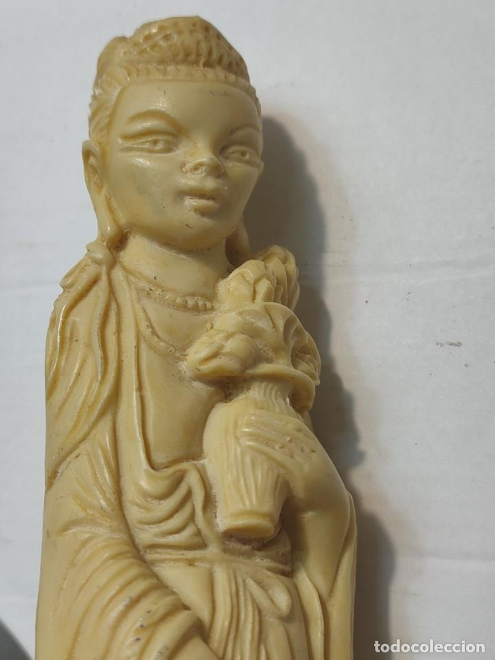 Antigüedades: Figura China en pasta-Resina con peana en Ambar - Foto 6 - 283254923