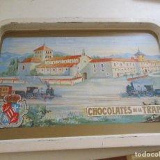 Antiguidades: BANDEJA DE: CHOCOLATES DE LA TRAPA- MIDE 27.5X39.5X2 CM.-. Lote 283271823