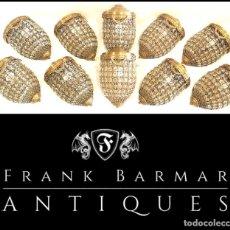 Antigüedades: FABULOSO LOTE: 10 APLIQUES LÁMPARAS WALL LAMP EMPEROR EICHHOLTZ CRISTAL TALLADO Y LATÓN (HAND MADE). Lote 283379958